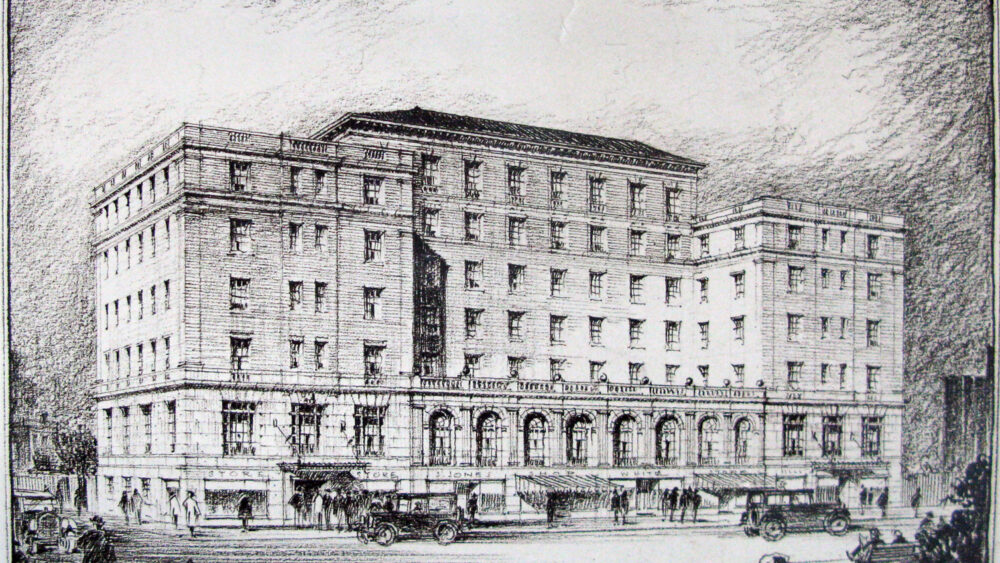 Ross and Macdonald Architects, perspective drawing of the proposed Newfoundland Hotel, St. John's, 1924.
