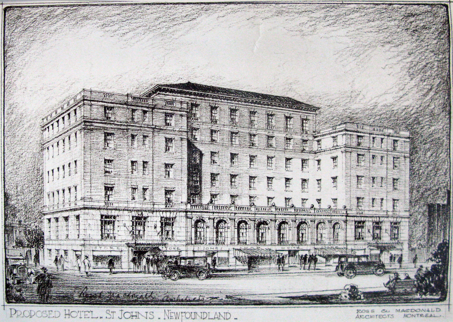 Fig. 1. Ross and Macdonald Architects, perspective drawing of the proposed Newfoundland Hotel, St. John's, 1924. The image shows a black-and-white perspective drawing of a seven-storey building.